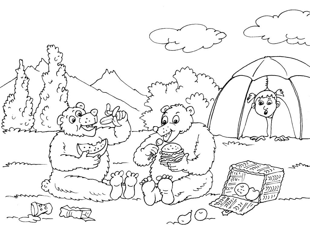 Excepcional Camping Para Colorear Imprimible Motivo - Dibujos Para ...