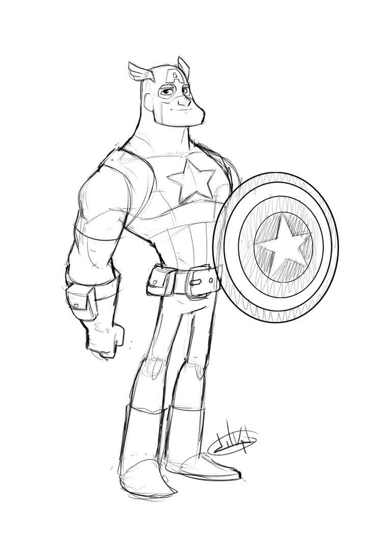 Vistoso Página Para Colorear De Capitán América Ilustración ...