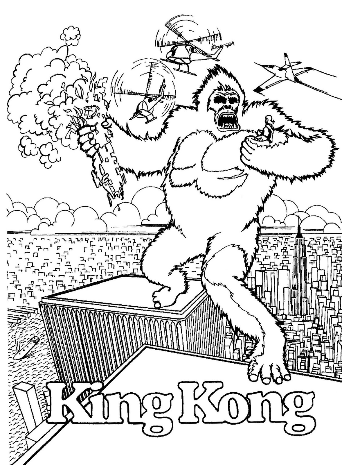 28 dibujos de King kong para colorear