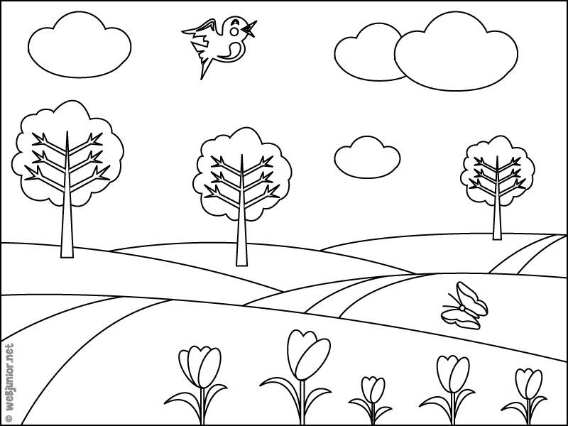 33 dibujos de paisajes para colorear oh kids page 4 - Dessin de printemps ...