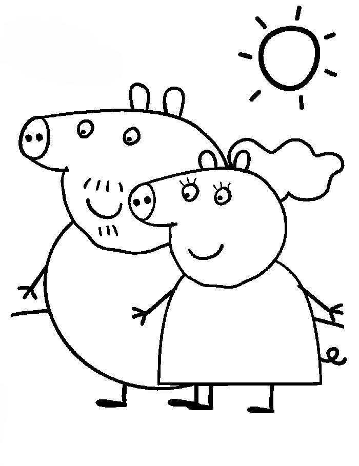 dibujos para pintar y colorear de peppa pig  para colorear